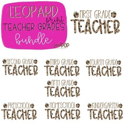 Leopard Teacher Grades Bundle | Teacher Design | Sublimation | Digital Art | Hand Painted | Digital Download | Teacher Printable | Art