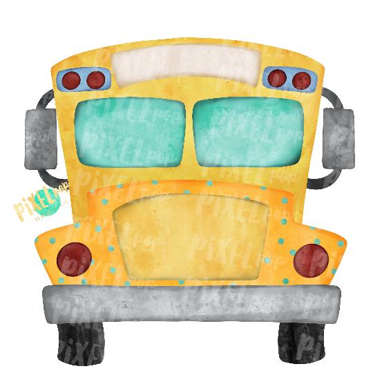 School Bus Watercolor Sublimation Transfer Clip Art Design | Hand Drawn PNG | Sublimation PNG | Digital Download | Printable Artwork | Art
