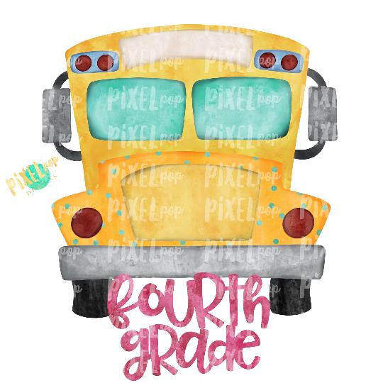 Fourth Grade Pink School Bus Watercolor Sublimation PNG Design   Hand Drawn   Sublimation PNG   Digital Download   Printable Artwork   Art