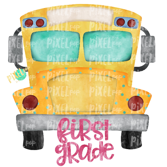 First Grade Pink School Bus Watercolor Sublimation PNG Design | Hand Drawn | Sublimation PNG | Digital Download | Printable Artwork | Art