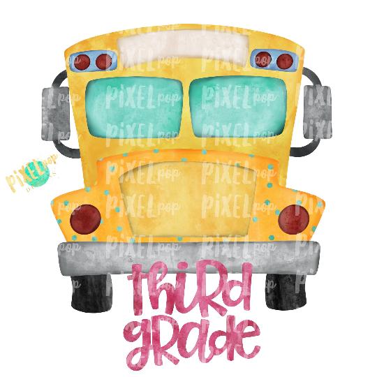 Third Grade Pink School Bus Watercolor Sublimation PNG Design   Hand Drawn   Sublimation PNG   Digital Download   Printable Artwork   Art