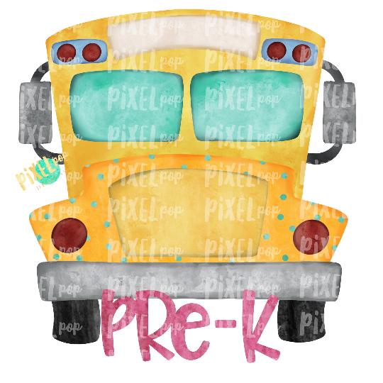 Pre-K Grade Pink School Bus Watercolor Sublimation PNG Design | Hand Drawn | Sublimation PNG | Digital Download | Printable Artwork | Art
