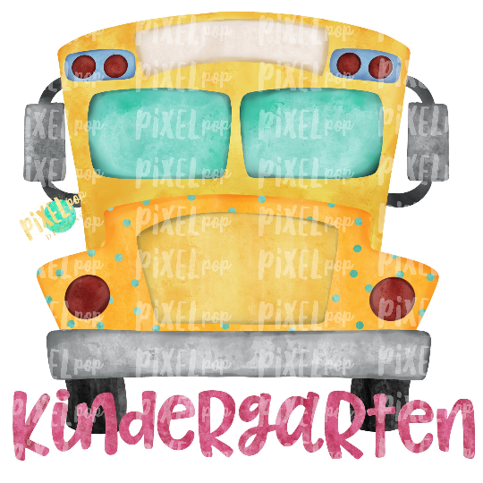 Kindergarten Grade Pink School Bus Watercolor Sublimation PNG Design   Hand Drawn   Sublimation PNG   Digital Download   Printable Artwork   Art