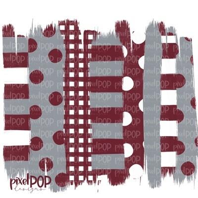 Maroon Grey Stripe Polka Dot Brush Stroke Background PNG | Maroon and Grey Team Colors | Transfer | Digital Print | Printable