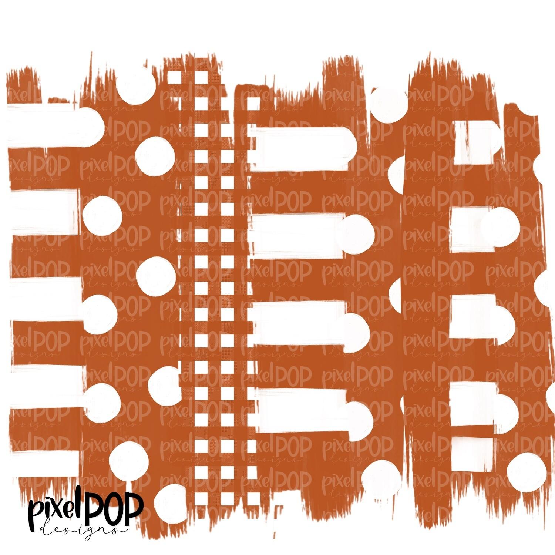 Burnt Orange and White Stripe Polka Dot Brush Stroke Background PNG | Orange Team Colors | Transfer | Digital Print | Printable