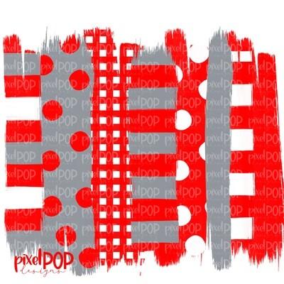 Red Grey Stripe Polka Dot Brush Stroke Background PNG | Red and Grey Team Colors | Transfer | Digital Print | Printable