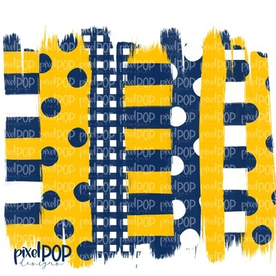 Navy and Yellow Stripe Polka Dot Brush Stroke Background PNG | Navy and Yellow Team Colors | Transfer | Digital Print | Printable