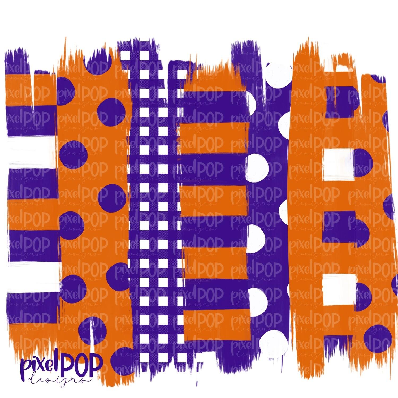 Orange and Purple Stripe Polka Dot Brush Stroke Background PNG   Purple Orange Team Colors   Transfer   Digital Print   Printable