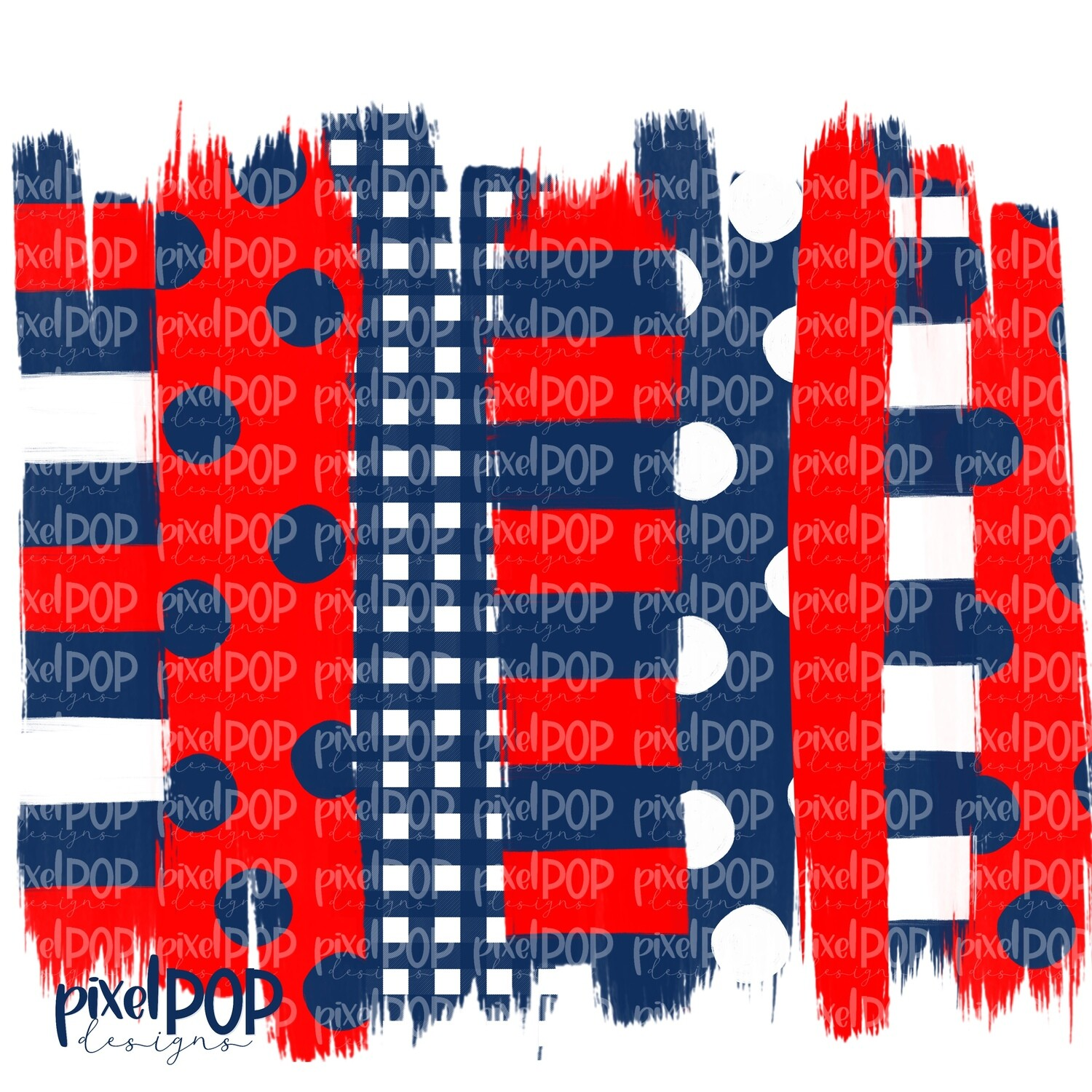 Red and Navy Stripe Polka Dot Brush Stroke Background PNG   Red and Navy Team Colors   Transfer   Digital Print   Printable