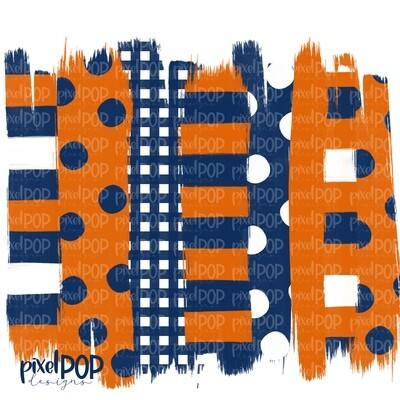 Orange and Navy Stripe Polka Dot Brush Stroke Background PNG | Navy & Orange Team Colors | Transfer | Digital Print | Printable