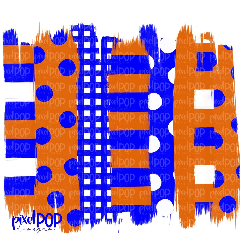Orange and Blue Stripe Polka Dot Brush Stroke Background PNG | Blue & Orange Team Colors | Transfer | Digital Print | Printable