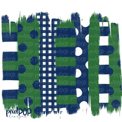 Navy and Green Stripe Polka Dot Brush Stroke Background PNG | Navy and Green Team Colors | Transfer | Digital Print | Printable