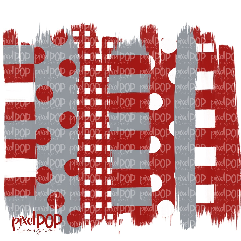 Crimson Grey Stripe Polka Dot Brush Stroke Background PNG | Crimson and Grey Team Colors | Transfer | Digital Print | Printable