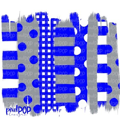 Blue and Grey Polka Dot Stripe Brush Stroke Background PNG | Blue and Grey Team Colors | Transfer | Digital Print | Printable