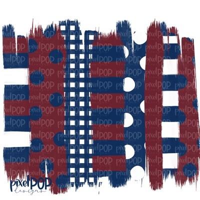 Maroon and Navy Stripe Polka Dot Brush Stroke Background PNG | Navy and Maroon Team Colors | Transfer | Digital Print | Printable