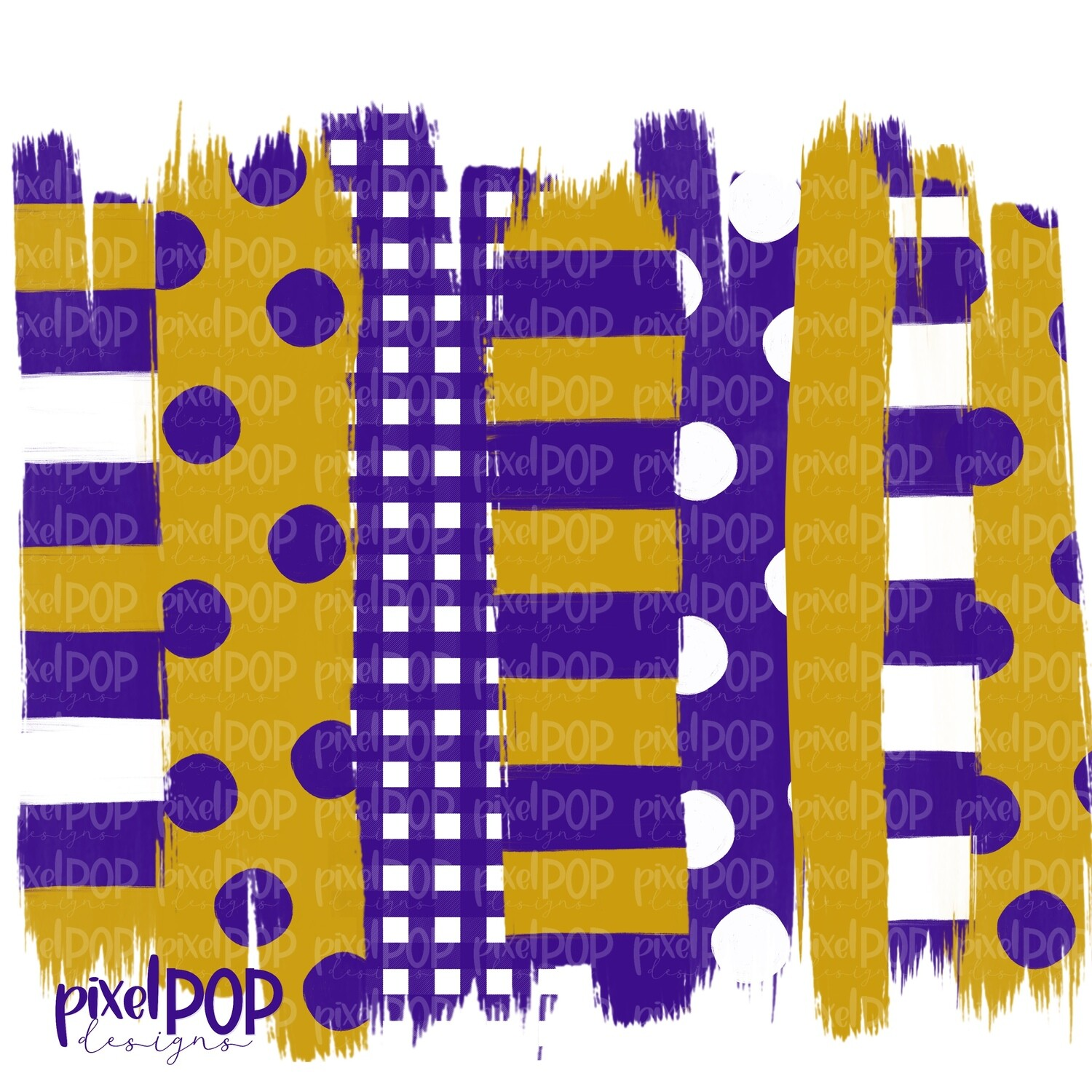 Purple and Gold Stripe Polka Dot Brush Stroke Background PNG | Purple and Gold Team Colors | Transfer | Digital Print | Printable