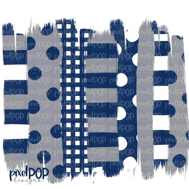 Navy and Grey Stripe Polka Dot Brush Stroke Background PNG | Navy and Grey Team Colors | Transfer | Digital Print | Printable