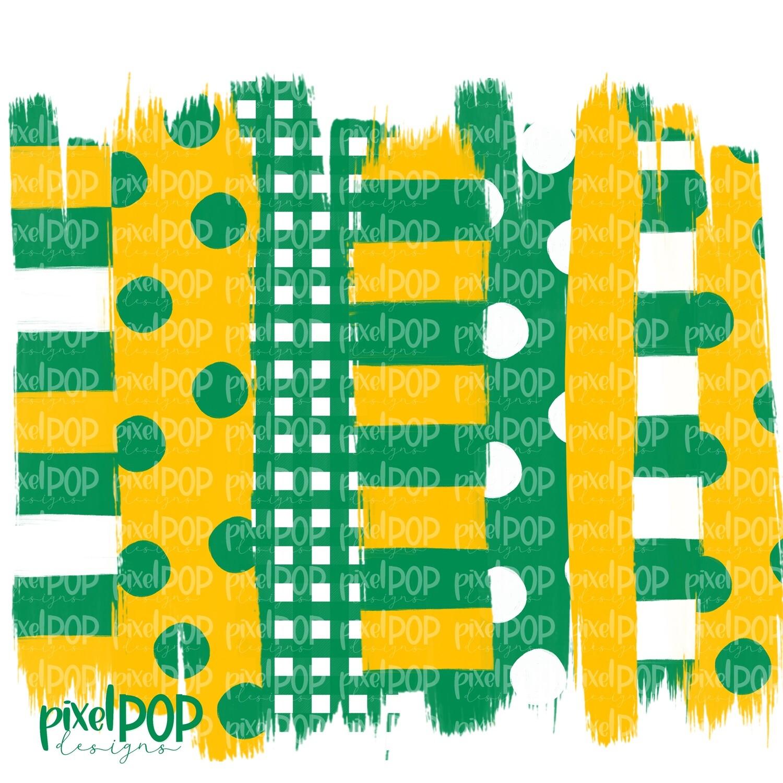Green and Yellow Stripe Polka Dot Brush Stroke Background PNG   Green & Yellow Team Colors   Transfer   Digital Print   Printable