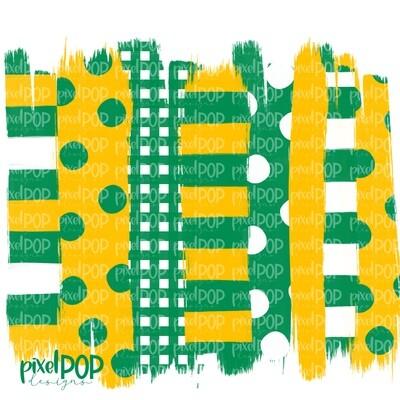 Green and Yellow Stripe Polka Dot Brush Stroke Background PNG | Green & Yellow Team Colors | Transfer | Digital Print | Printable
