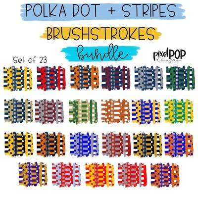 Polka Dot Stripe Brush Strokes Background BUNDLE - 23 FILES - Hand Drawn Sublimation PNG | Team Colors | Transfer | Digital Print