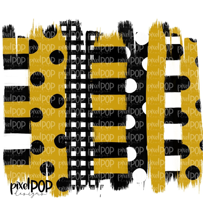 Black and Gold Stripe Polka Dot Brush Stroke Background PNG   Black & Gold Team Colors   Transfer   Digital Print   Printable