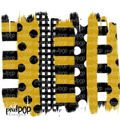 Black and Gold Stripe Polka Dot Brush Stroke Background PNG | Black & Gold Team Colors | Transfer | Digital Print | Printable