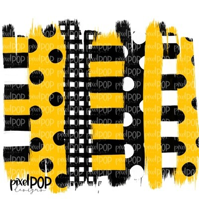 Black and Yellow Stripe Polka Dot Brush Stroke Background PNG | Black & Yellow Team Colors | Transfer | Digital Print | Printable