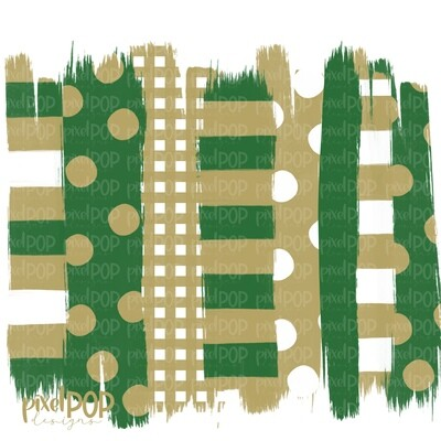 Green and Gold Stripe Polka Dot Brush Stroke Background PNG | Green & Gold Team Colors | Transfer | Digital Print | Printable