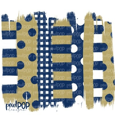 Navy and Gold Stripe Polka Dot Brush Stroke Background PNG | Navy and Gold Team Colors | Transfer | Digital Print | Printable