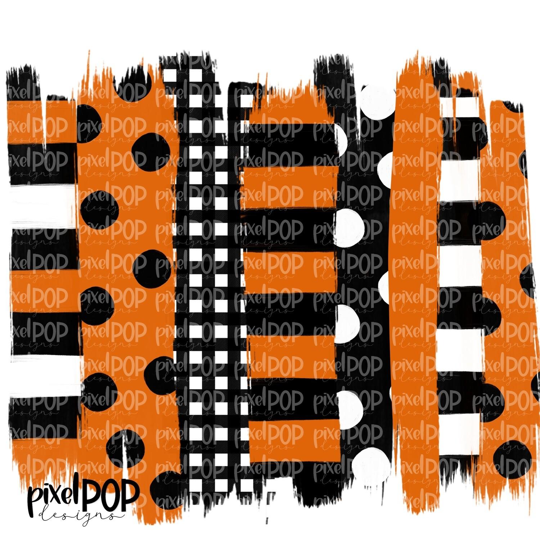 Orange and Black Stripe Polka Dot Brush Stroke Background PNG   Black & Orange Team Colors   Transfer   Digital Print   Printable