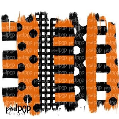 Orange and Black Stripe Polka Dot Brush Stroke Background PNG | Black & Orange Team Colors | Transfer | Digital Print | Printable