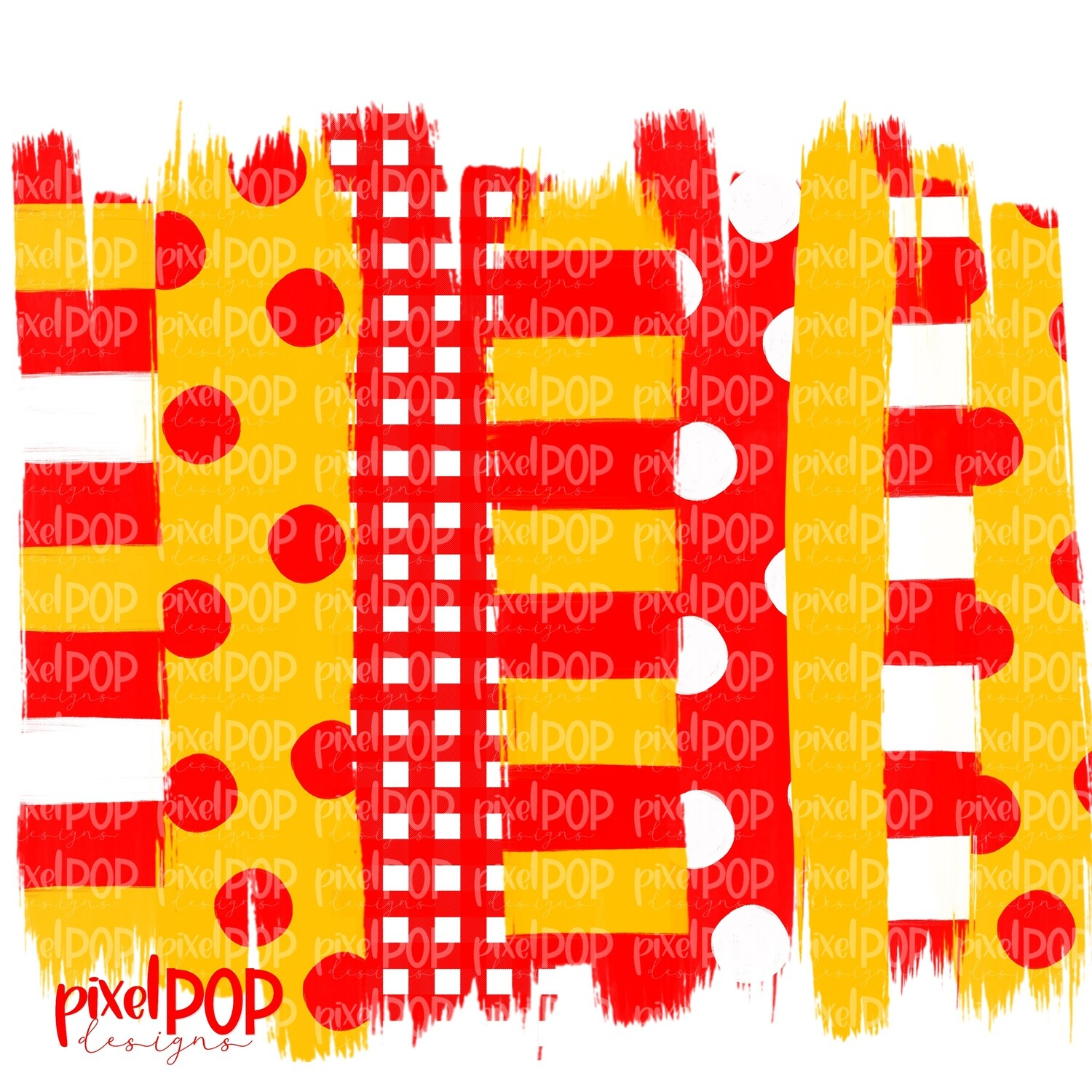 Red and Yellow Stripe Polka Dot Brush Stroke Background PNG | Red & Yellow Team Colors | Transfer | Digital Print | Printable