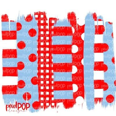 Red and Carolina Blue Stripe Polka Dot Brush Stroke Background PNG | Red & Blue Team Colors | Transfer | Digital Print | Printable