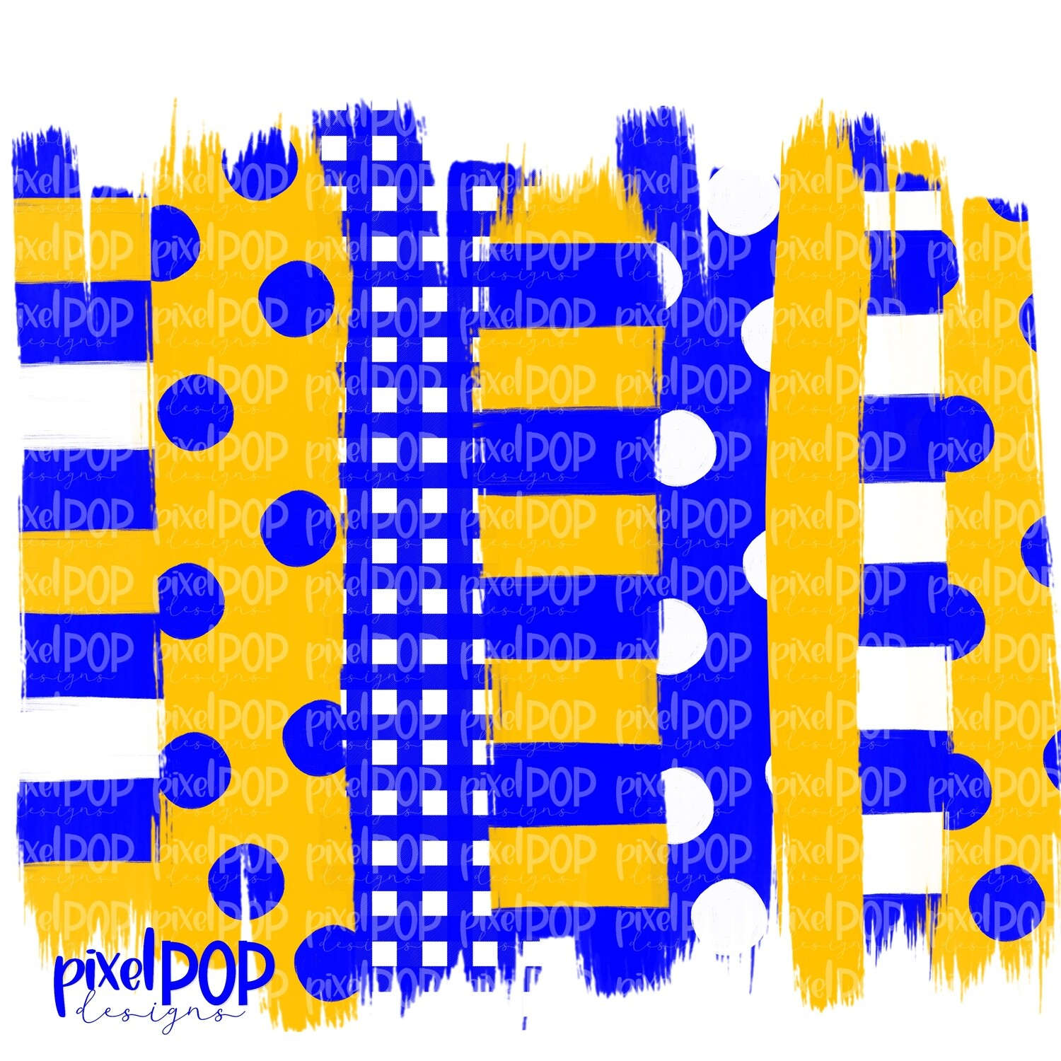 Blue and Yellow Polka Dot Stripe Brush Stroke Background PNG   Blue and Yellow Team Colors   Transfer   Digital Print   Printable