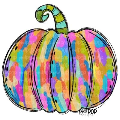 Colorful Jewel Toned Pumpkin with Brush Strokes PNG   Hand Drawn Digital Art   Sublimation PNG   Digital Art   Printable Artwork   Art