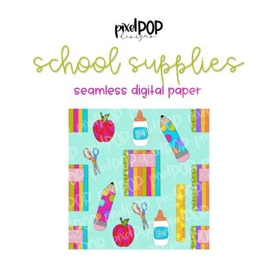 School Supplies Seamless Digital Paper PNG | School Art | Hand Painted | Sublimation PNG | Digital Download | Digital Scrapbooking Paper