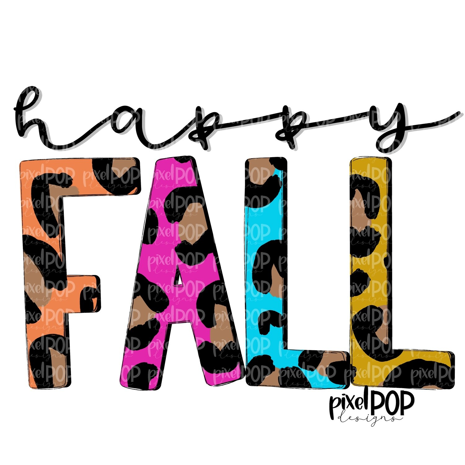 Happy Fall Jewel Tones Leopard PNG   Sublimation Design   Hand Painted Design   Fall Art   Fall Design   Fall Art   Happy Fall   Printable