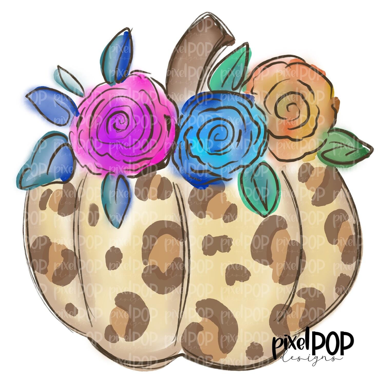 Cream Leopard Print Pumpkin with Flowers PNG | Floral Pumpkin | Hand Drawn Digital Art | Sublimation | Digital Art | Printable Artwork | Art