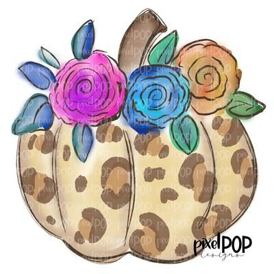 Cream Leopard Print Pumpkin with Flowers PNG   Floral Pumpkin   Hand Drawn Digital Art   Sublimation   Digital Art   Printable Artwork   Art