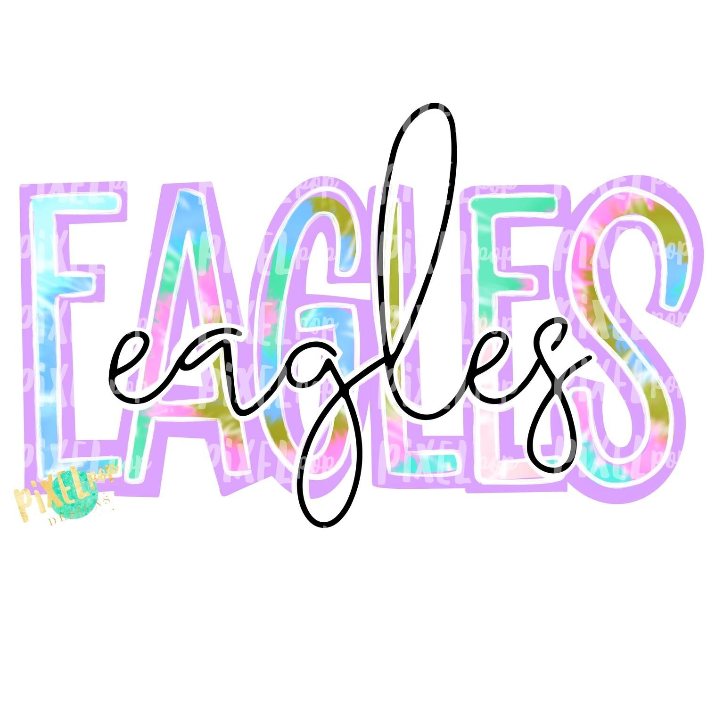 Eagles Tie Dye Mascot PNG | Eagles Sublimation Design | Team Spirit Design | Eagles Clip Art | Digital Download | Printable Artwork