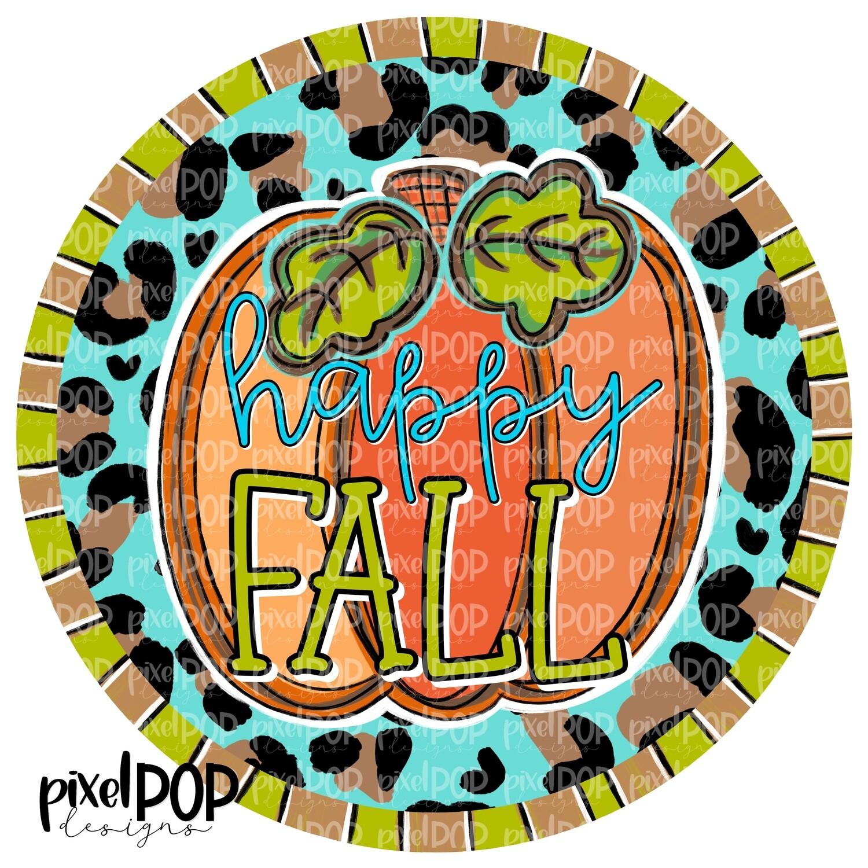 Happy Fall Pumpkin Circle with Leopard Print PNG   Halloween Digital   Halloween Pumpkin Sublimation PNG   Pumpkin Digital Art   Pumpkin