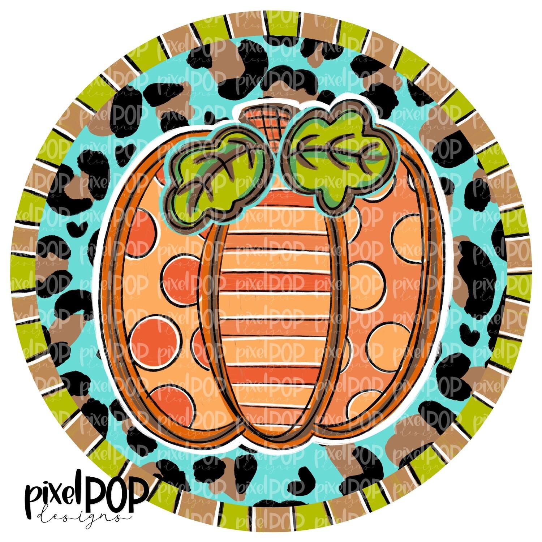 Orange Pumpkin Circle with Leopard Print PNG | Halloween Digital | Halloween Pumpkin Sublimation PNG | Pumpkin Digital Art | Pumpkin