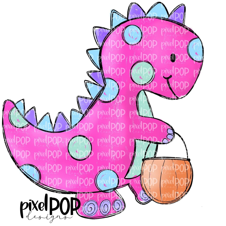Pink Dinosaur Pumpkin Halloween PNG   Dinosaur   Dino   Dino Sublimation   Halloween   Dino Clip Art   Dino Doodle   Digital Dino Art