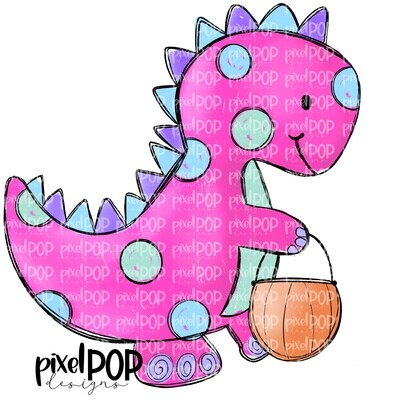 Pink Dinosaur Pumpkin Halloween PNG | Dinosaur | Dino | Dino Sublimation | Halloween | Dino Clip Art | Dino Doodle | Digital Dino Art