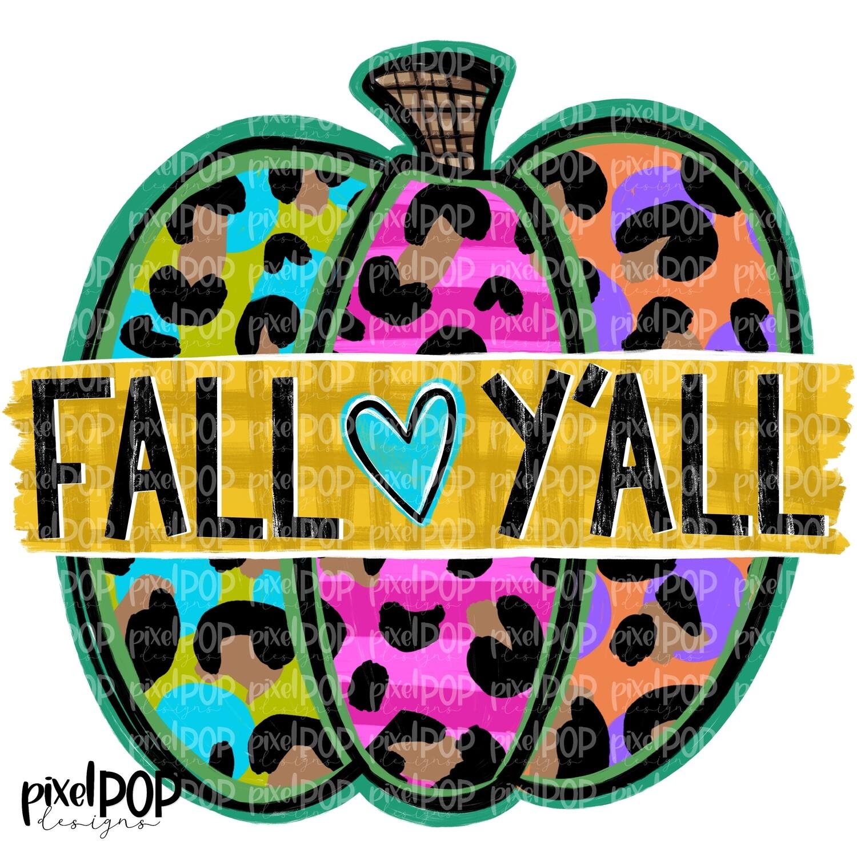 Fall Y'all Leopard Print Jewel Toned Pumpkin PNG | Halloween Digital | Halloween Pumpkin Sublimation PNG | Pumpkin Digital Art | Pumpkin