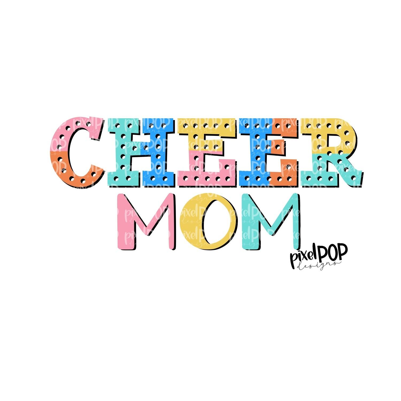 Cheer Mom Colorblock Bright Design PNG   Cheer   Cheer Design   Sublimation Design   Heat Transfer   Digital Print   Printable   Clip Art