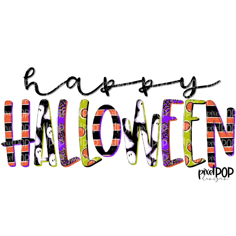 Happy Halloween Printed PNG | Halloween Sublimation | Happy Halloween Digital Art | Printable Art | Digital Download | Ghost | Spider Web