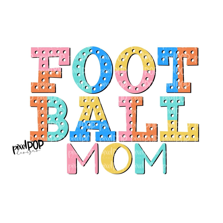 Football Mom Colorblock Bright Design PNG   Football Design   Sublimation Design   Heat Transfer   Digital Print   Printable   Clip Art