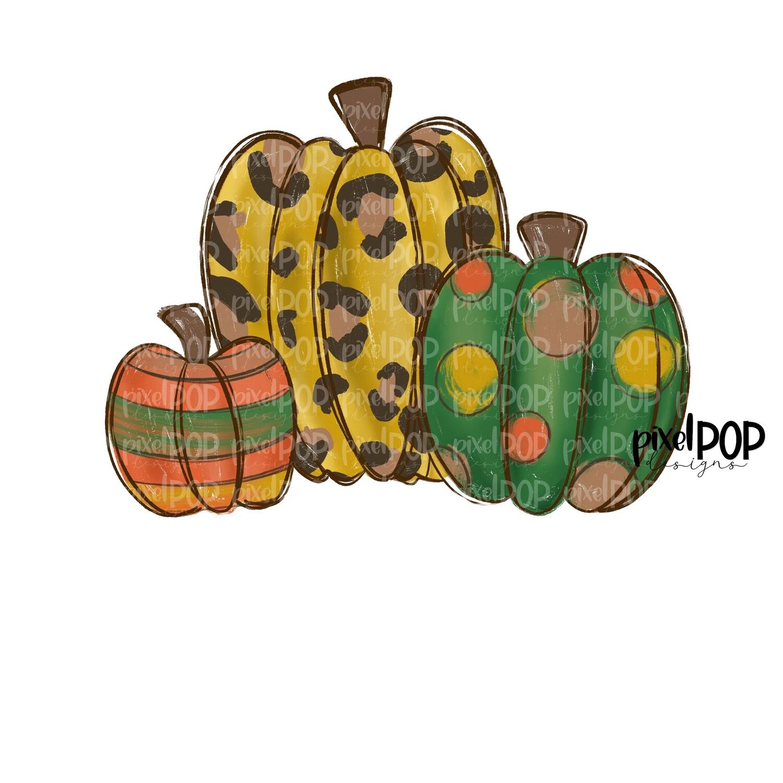Fall Harvest Pumpkins Leopard PNG | Pumpkin Art | Pumpkin PNG Design | Hand Painted Design | Fall Art | Fall Design | Fall Art | Happy Fall