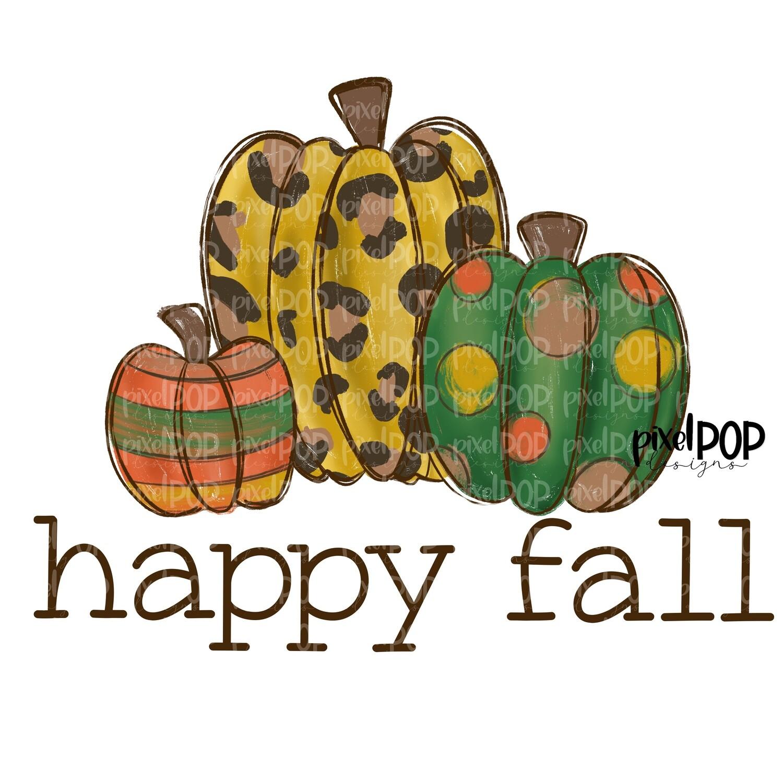 Happy Fall Harvest Pumpkins Leopard PNG | Pumpkin | Pumpkin Design | Hand Painted Design | Fall Art | Fall Design | Fall Art | Happy Fall